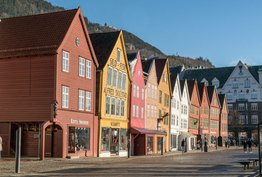 Beautiful small wooden houses in Bergen, Norway