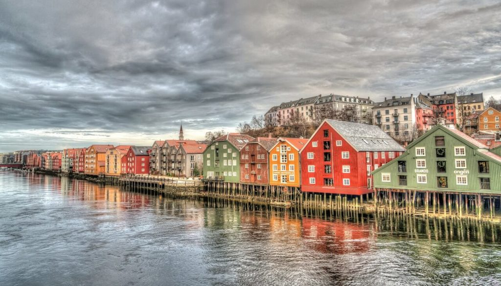Trondheim wooden houses, most beautiful places in Norway