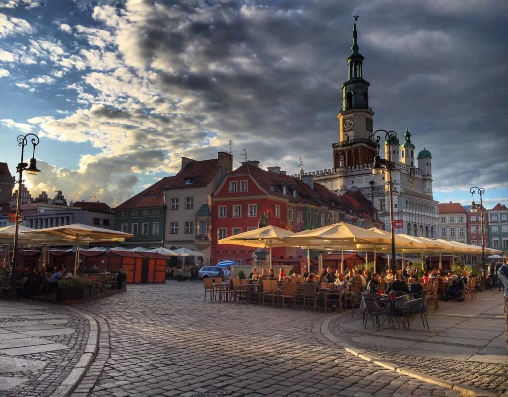 Cafes on the old market square in Poznan