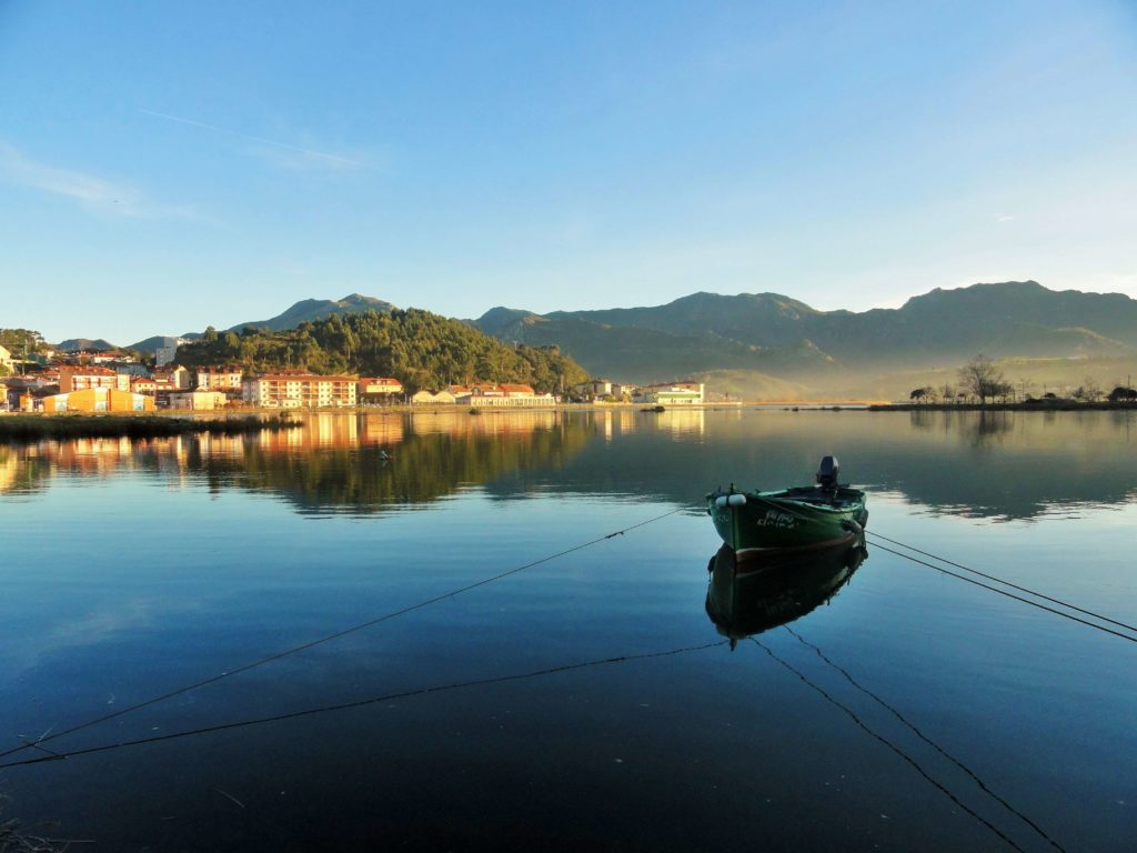 Boat in a small town in Asturias, Spain