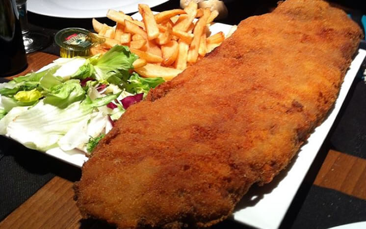 cachopo, huge steak traditional dish of Asturias