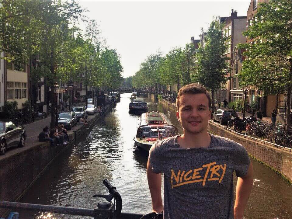 Roman and canal in Amsterdam, summer adventures