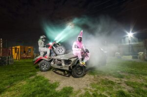Smoke and motorcycles in Pif Paf Paintball club in Warsaw
