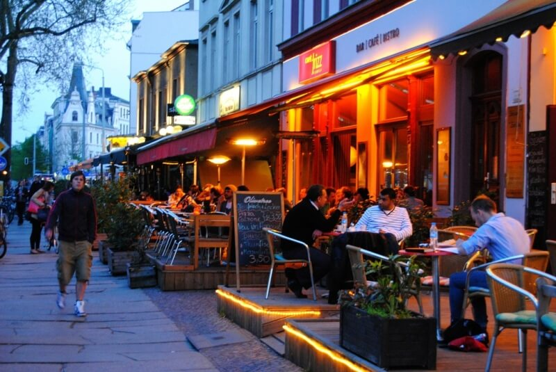 Clubbing and hipster area on Karl-Liebknecht-Strasse in Leizig