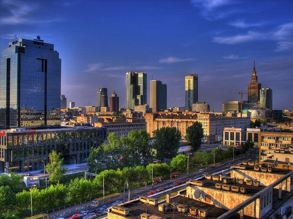 Panorama of Warsaw, new part of the city, city guide Poland