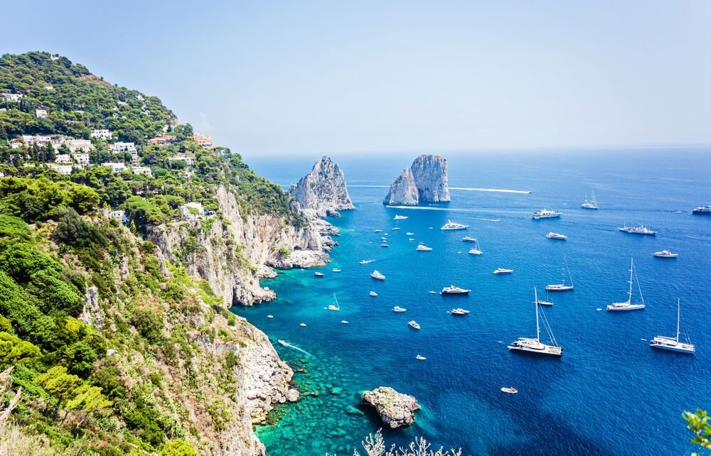 Capri Island in Italy with small boats