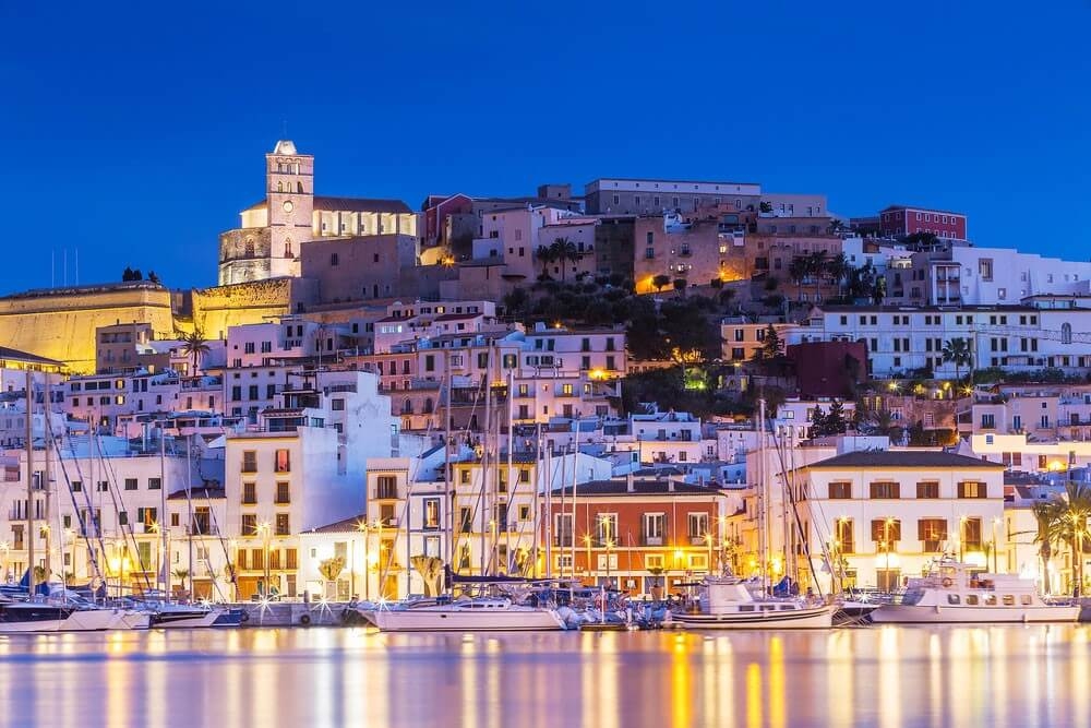 View of Ibiza at night, Spanish island