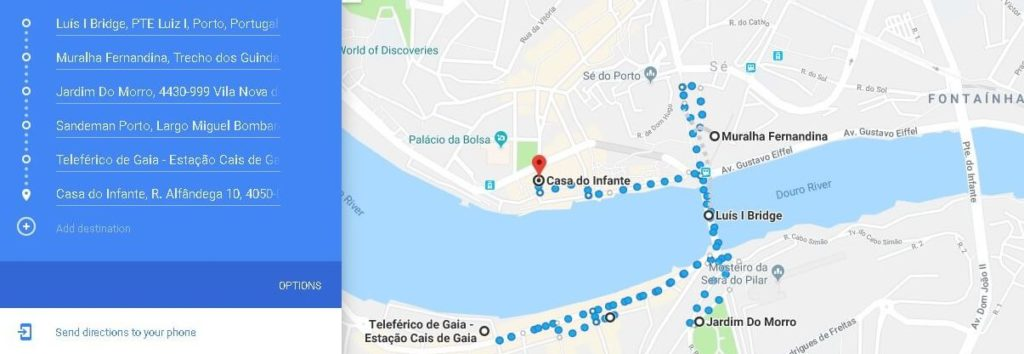 Day 2 of the Porto Itinerary, map