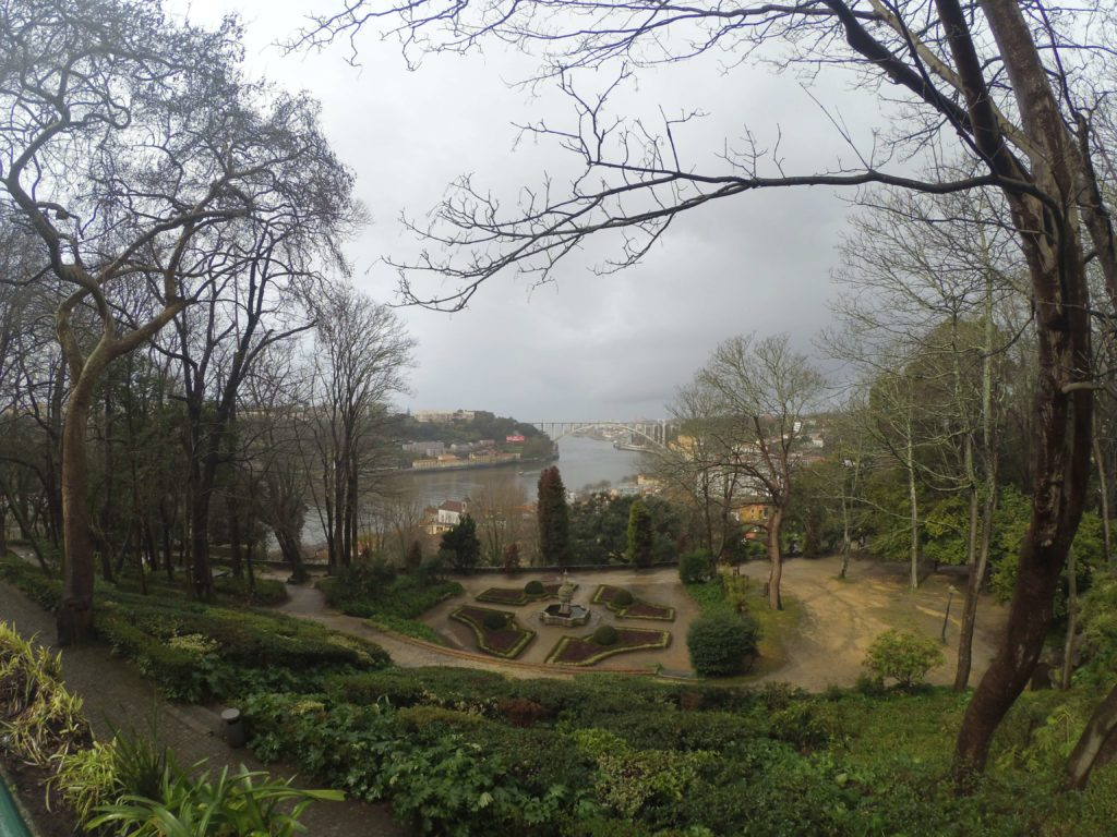 Park in Porto with a view of Douro river