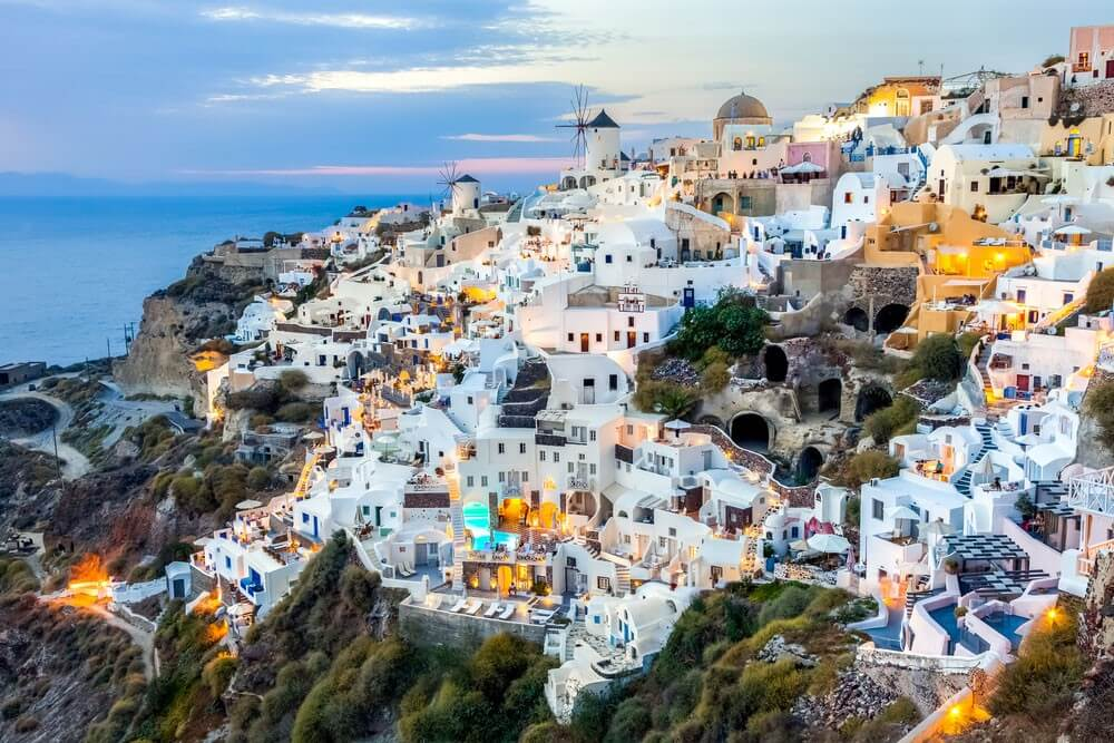 White houses on the hill in Santorini, Greek island in Europe