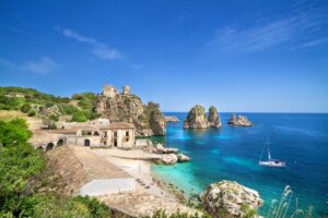 Beautiful blue water on the island of Sicily, Italy
