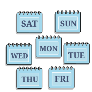 Days of the week, planning the days