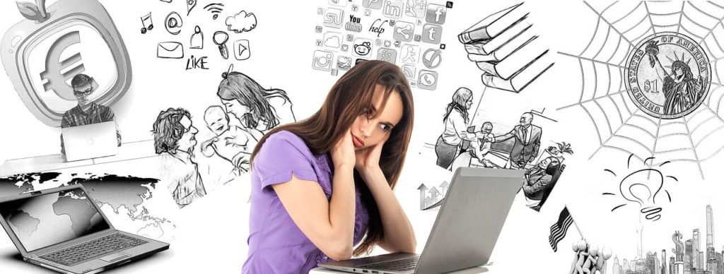 Woman near laptop, problem of multitasking