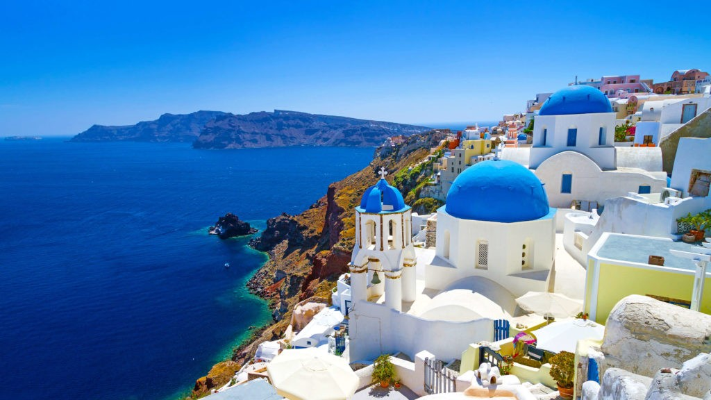 Aegean Sea, view of Santorini, Greece for water enthusiasts