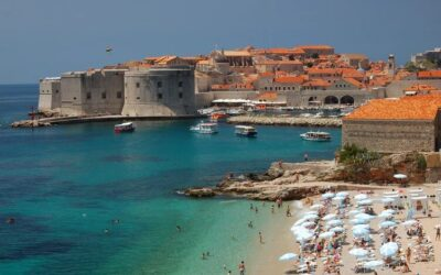 Beach, castle and the city of Dubrovnik