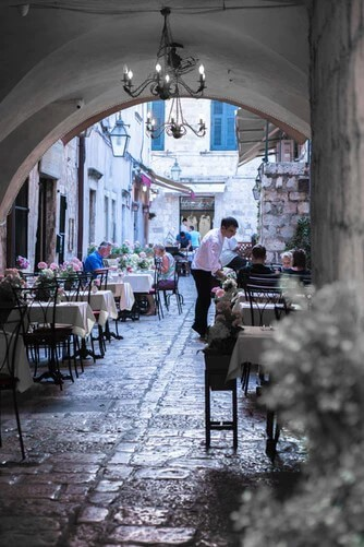 Cafe on a street in Dubrovnik