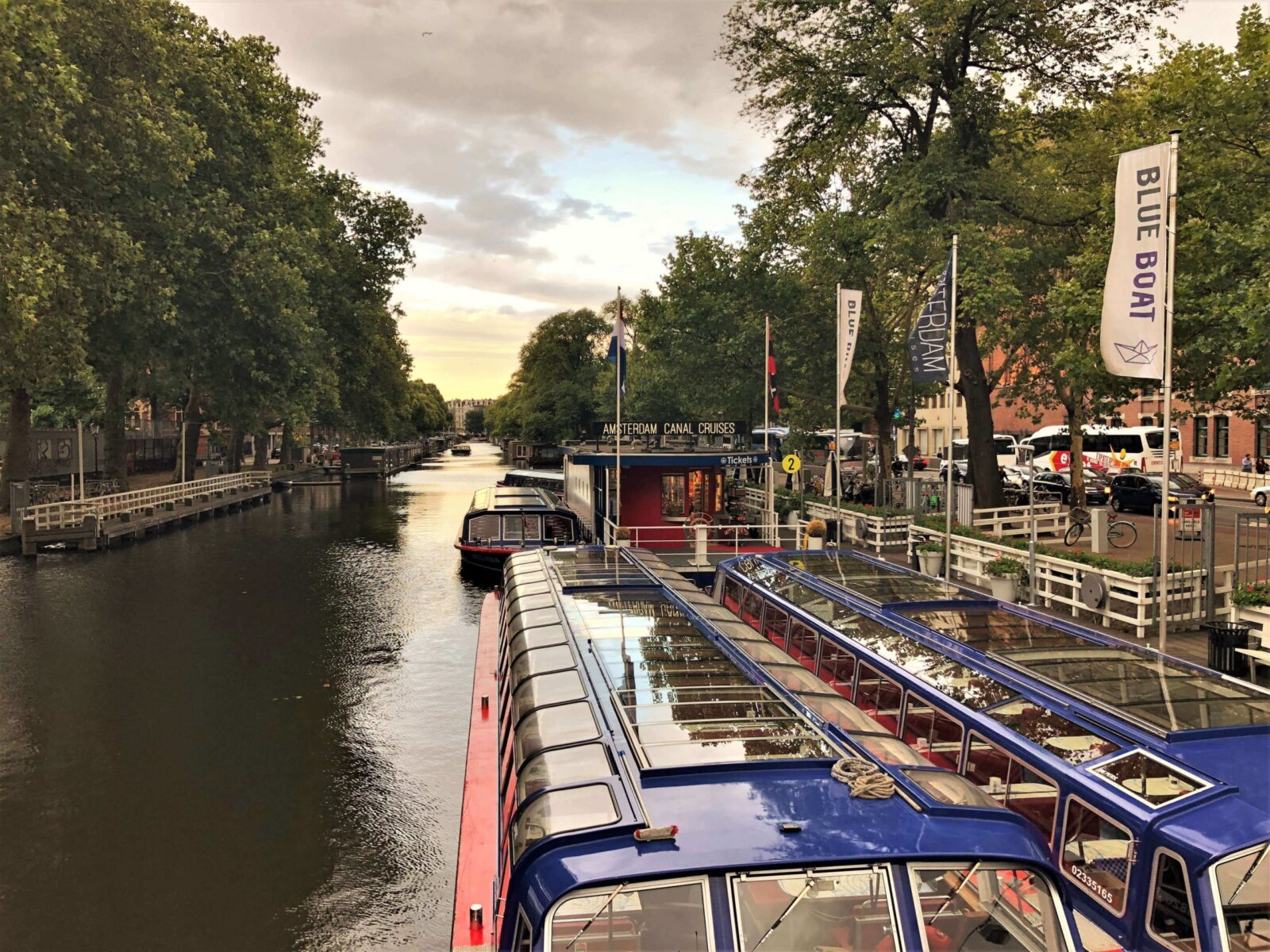 Boat trip on a canal in Amsterdam
