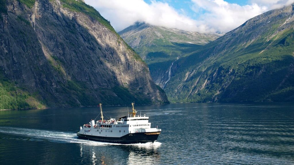 Geiranger fjord in Norway, cruise ship
