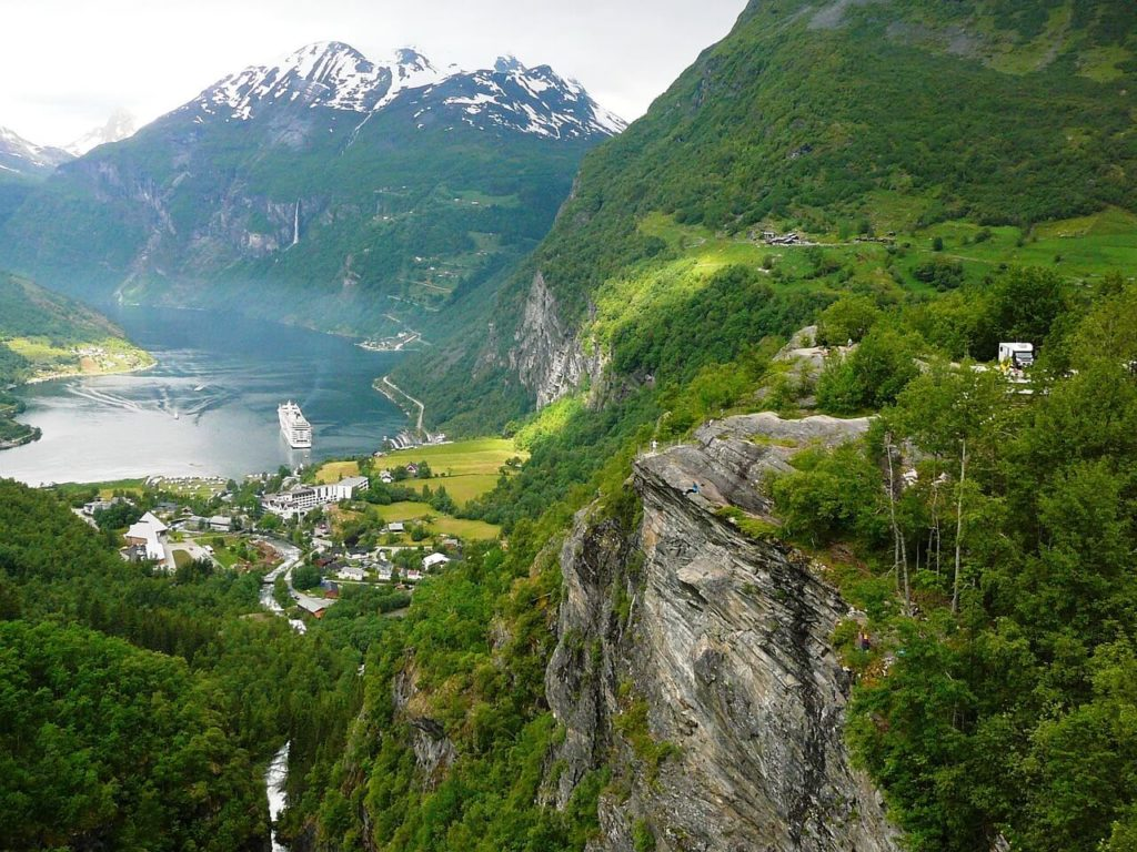 Panorama in Geirangerfjord, green mountains in Norway