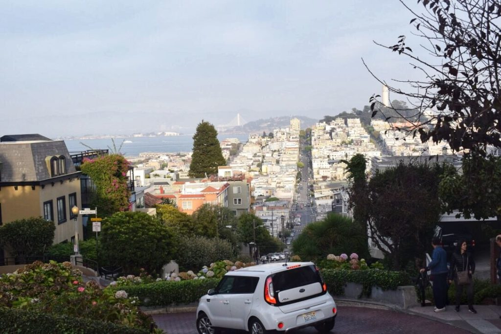 Driving a car in San Francisco Lombard street, getting around the city