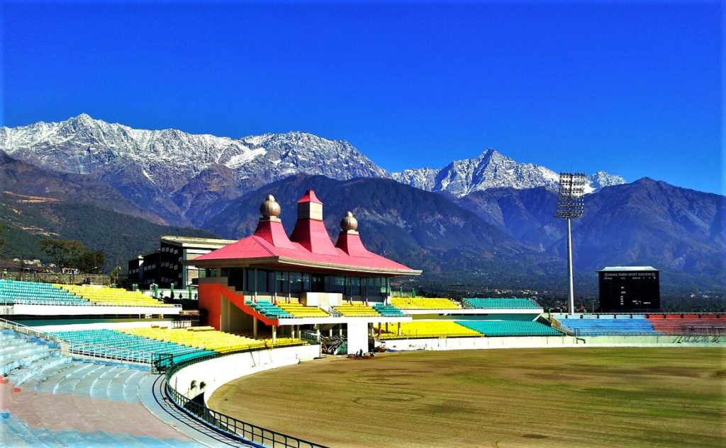 Dharamshala hill station in Indian mountains