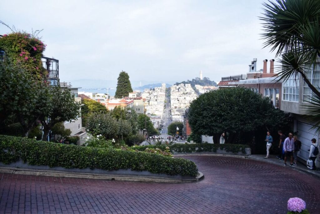 Lombard street, steep streets of San Francisco