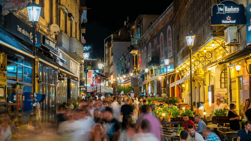 Bucharest nightlife in the old town, travel guide