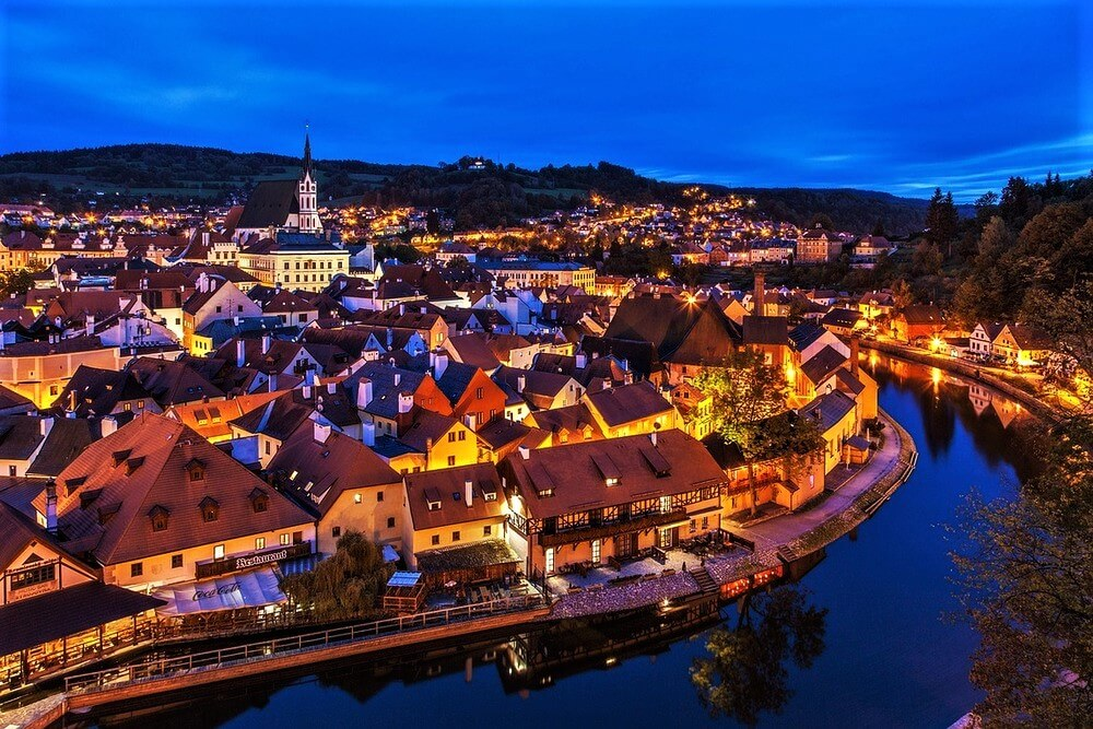 Cesky Krumlov at night, best destinations in Europe