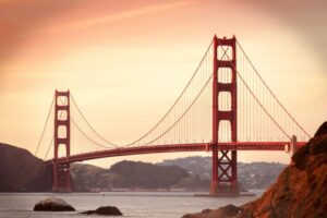 Golden Gate bridge in San Francisco on sunset, 3-day itinerary with things to do