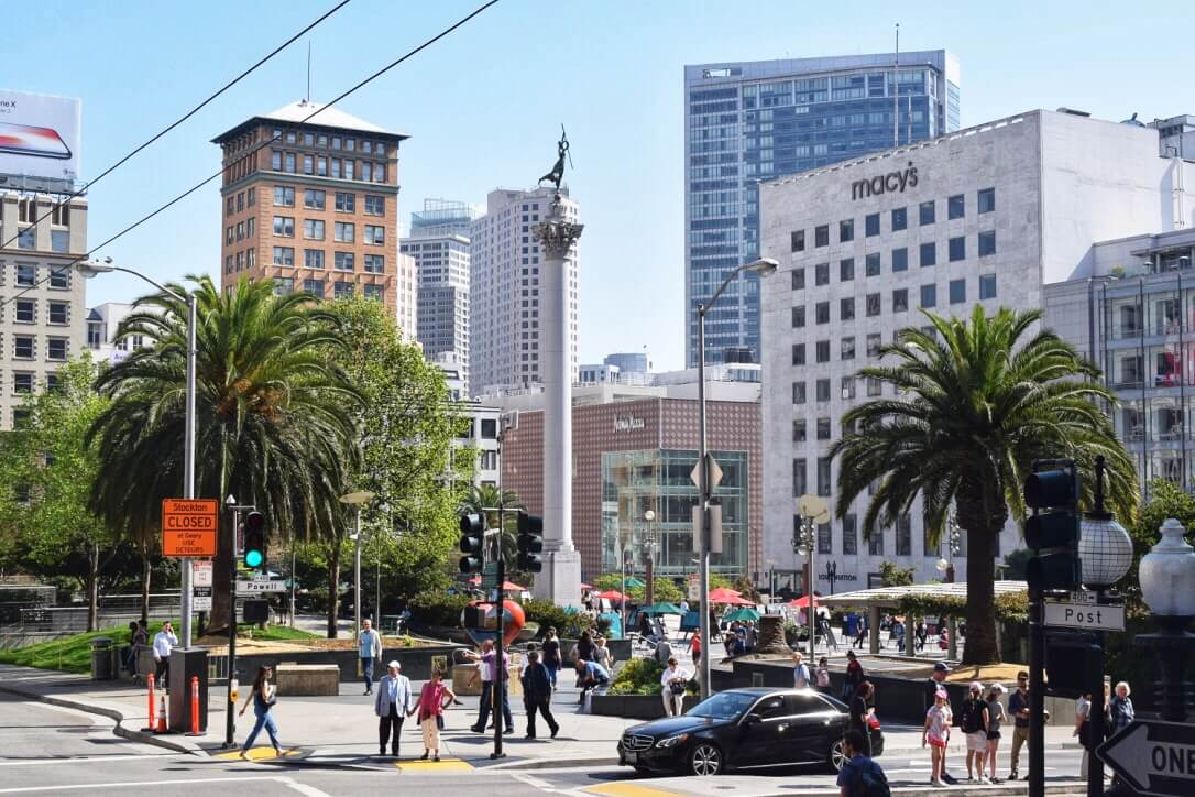 union square in San Francisco, 3 day itinerary