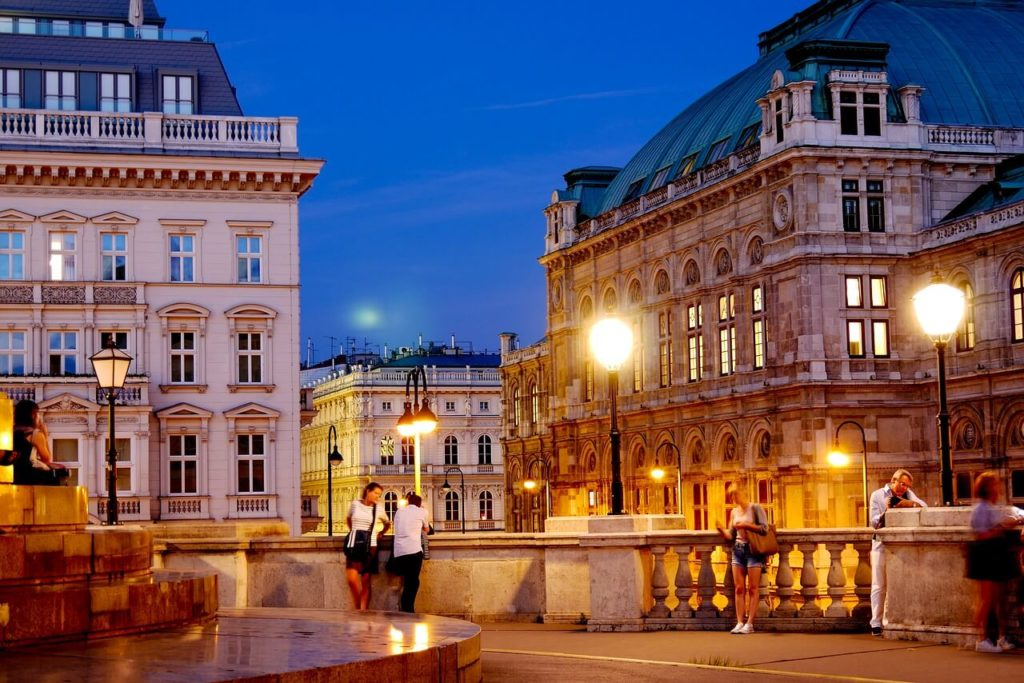 Vienna weekend trip planning, evening view of attractions