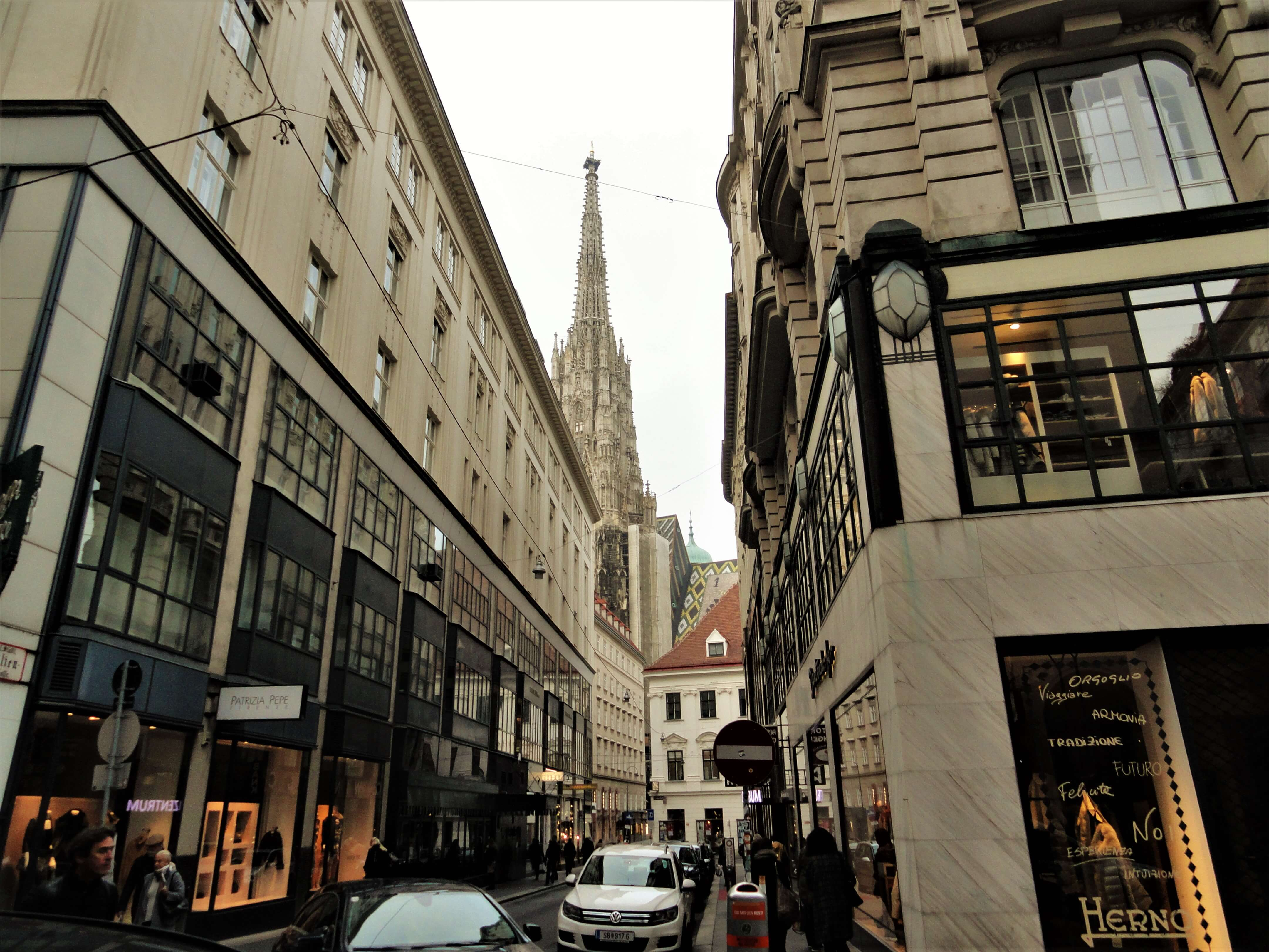 Vienna street with a view of St. Stephens cathedral, places to stay in Vienna