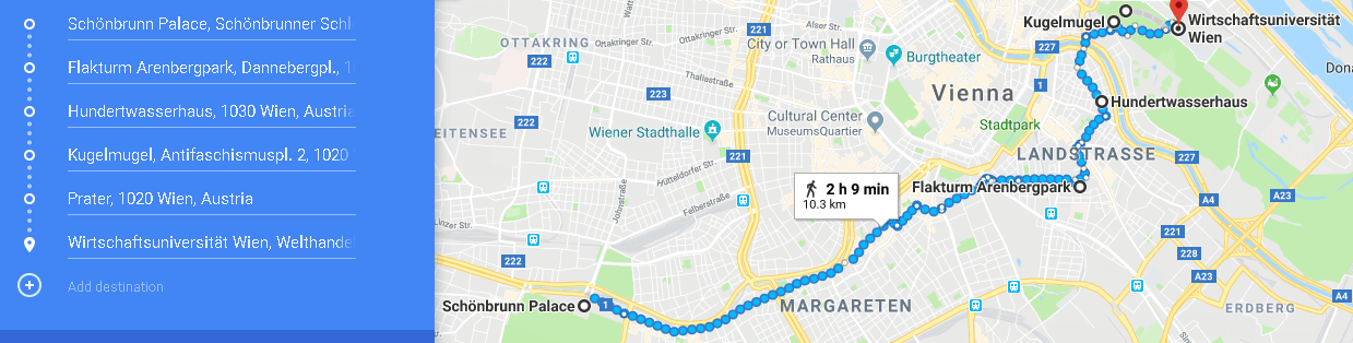 Map of the second day in Vienna itinerary, things to do