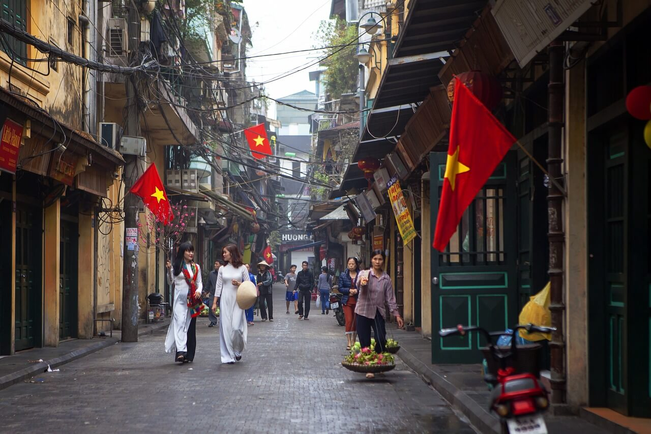 Street in Hanoi, Vietnam for first time visitors