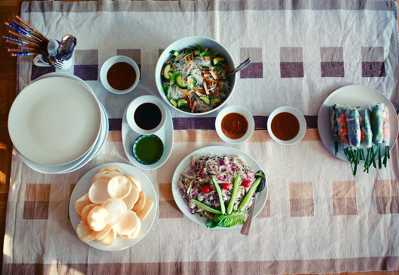 Different dishes on a table, food guide to Vietnam