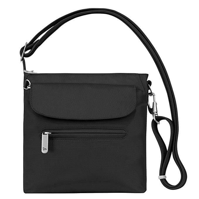 Black anti-theft travel purse