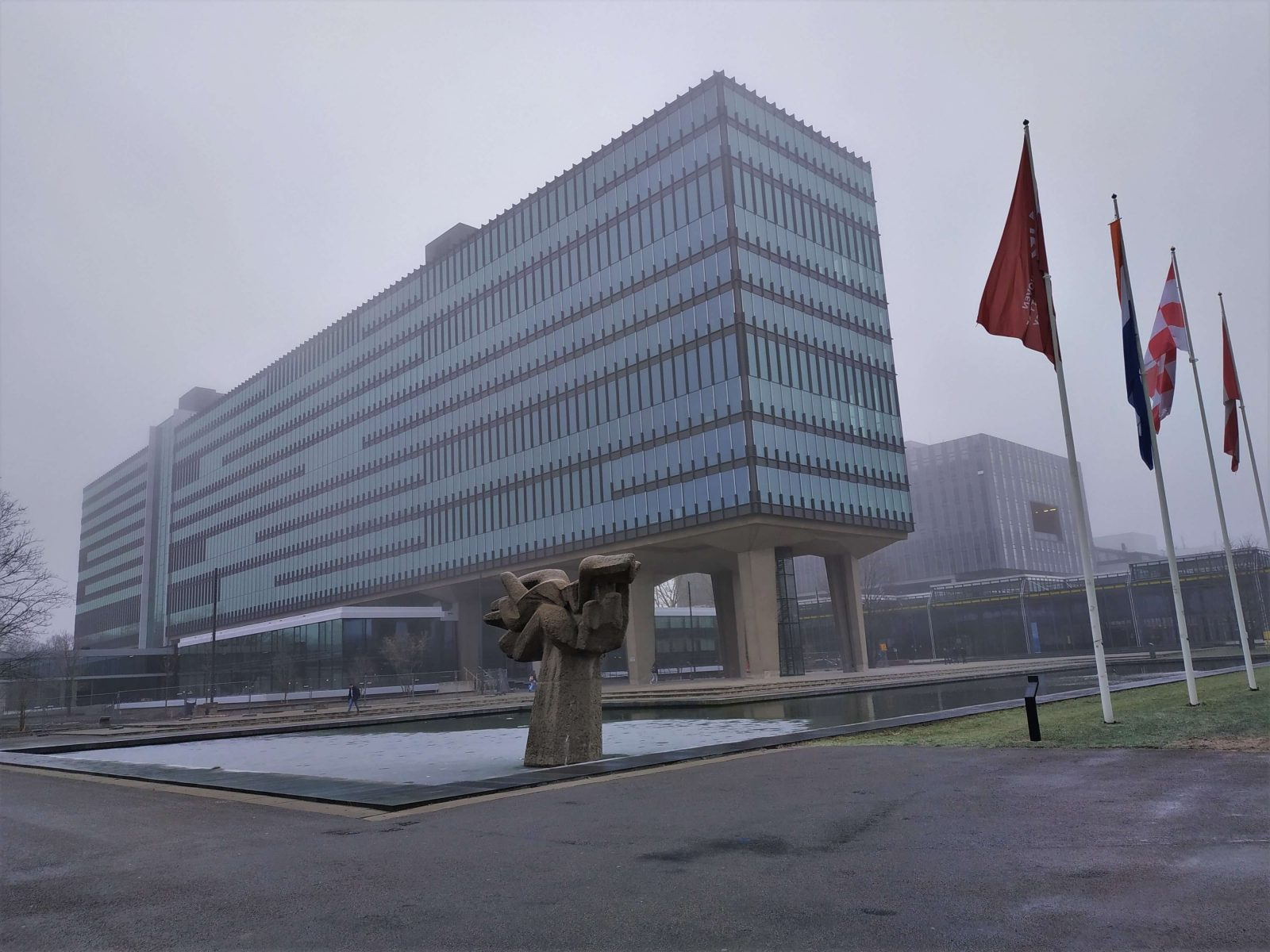 Eindhoven technical university campus in fog