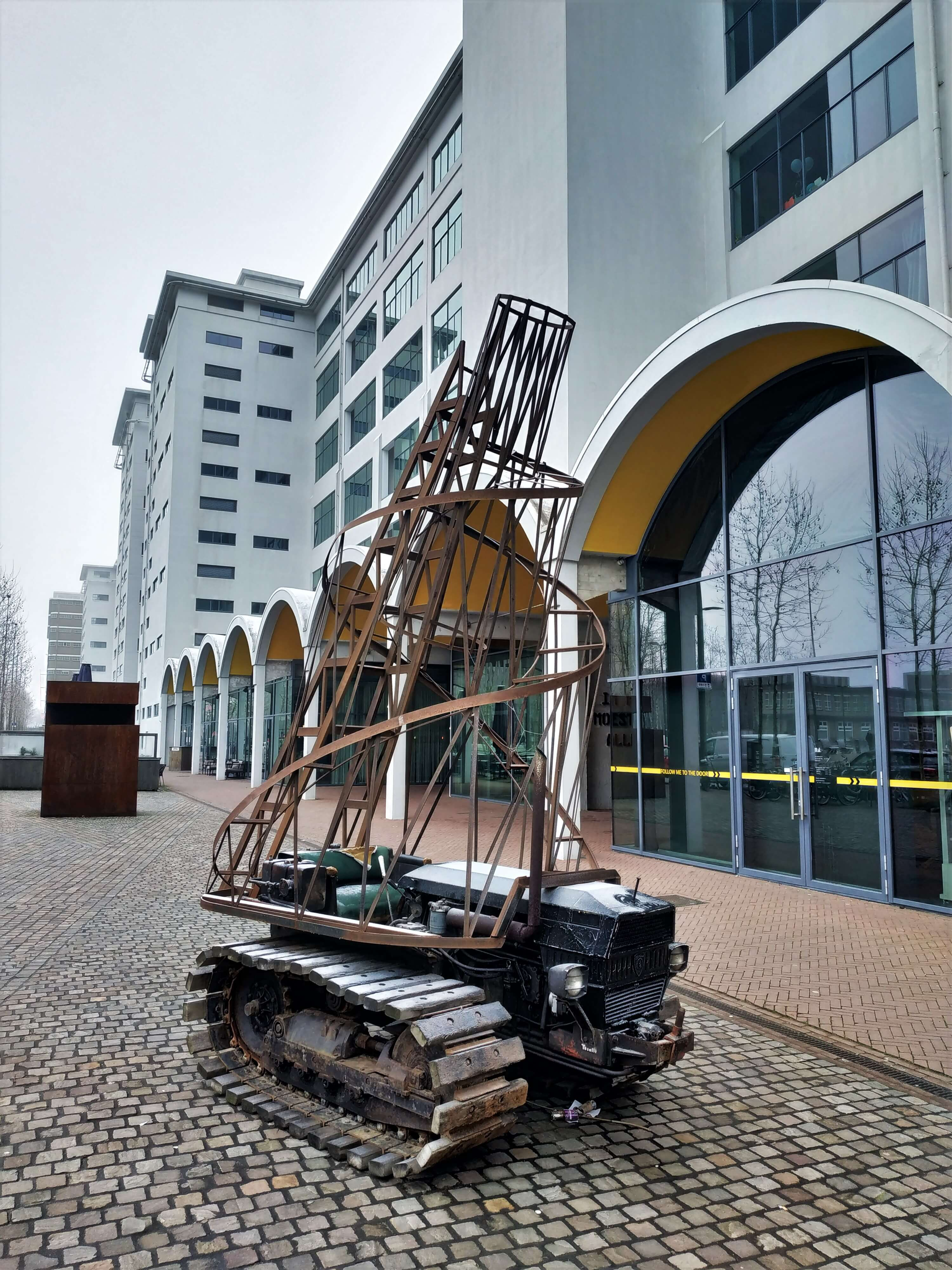 Futuristic art next to the modern design museum in Eindhoven