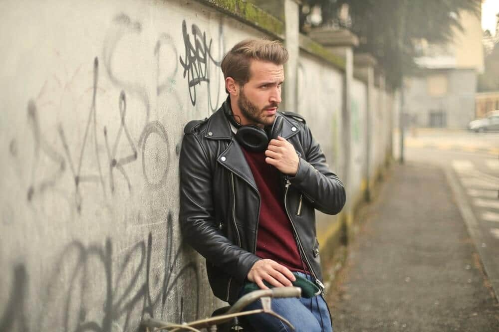 biker wearing leather motorcycle jacket