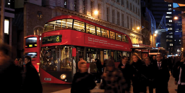 London tour bus at night, low cost tours