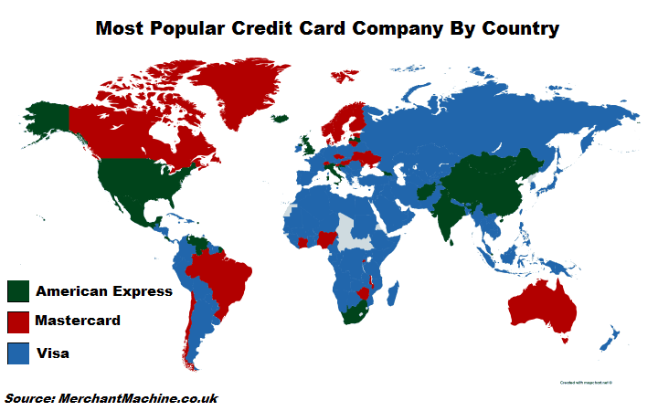 Map with statistics of credit card usage by country