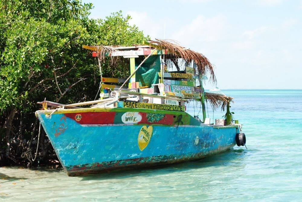 Boat in Caye Caulker, Ambergris Caye, Belize budget itinerary and things to do