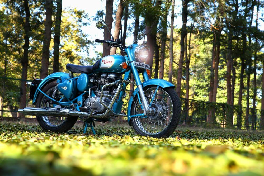 blue motorcycle on grass in a forest, bike packing list