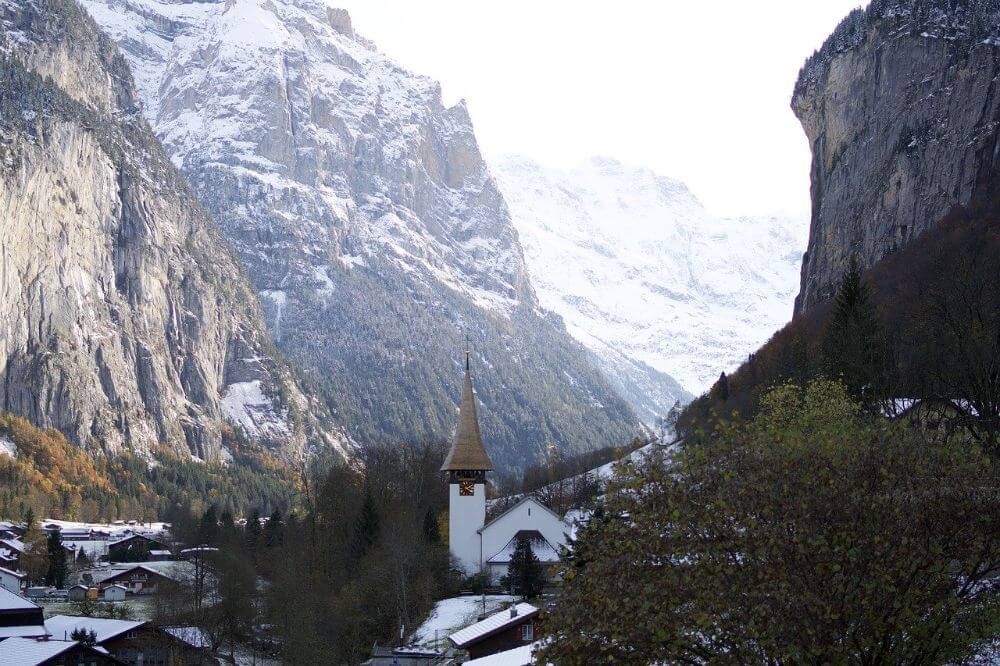 Lauterburnnen town in the mountains, Switzerland