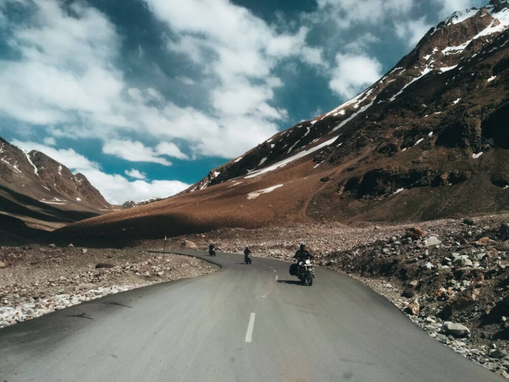 Biker riding in the mountains, motorcycle checklist