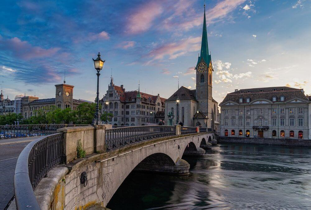 Panorama of attractions in Zurich