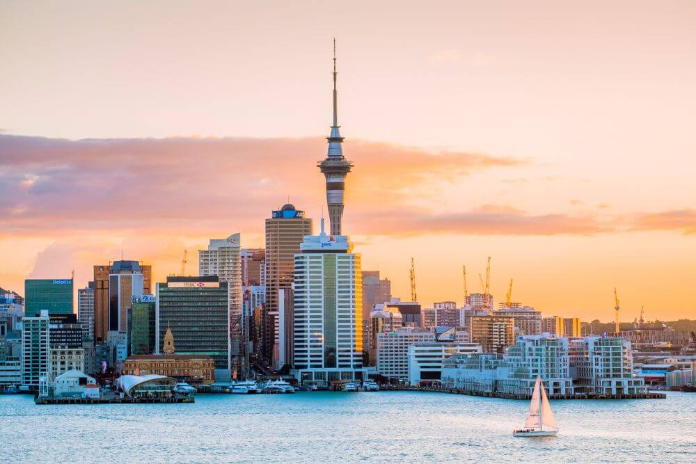 Panorama of Auckland downtown during sunset