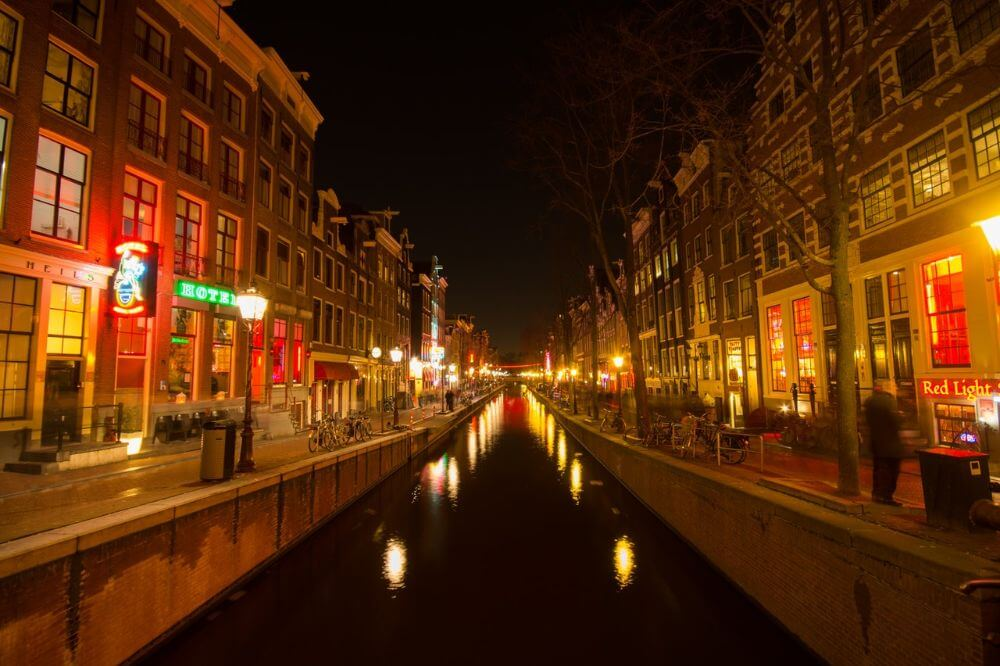 Red Light District amsterdam panorama, night photo