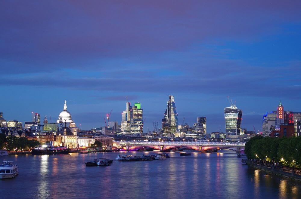 Waterloo bridge in London City, night view of the attractions