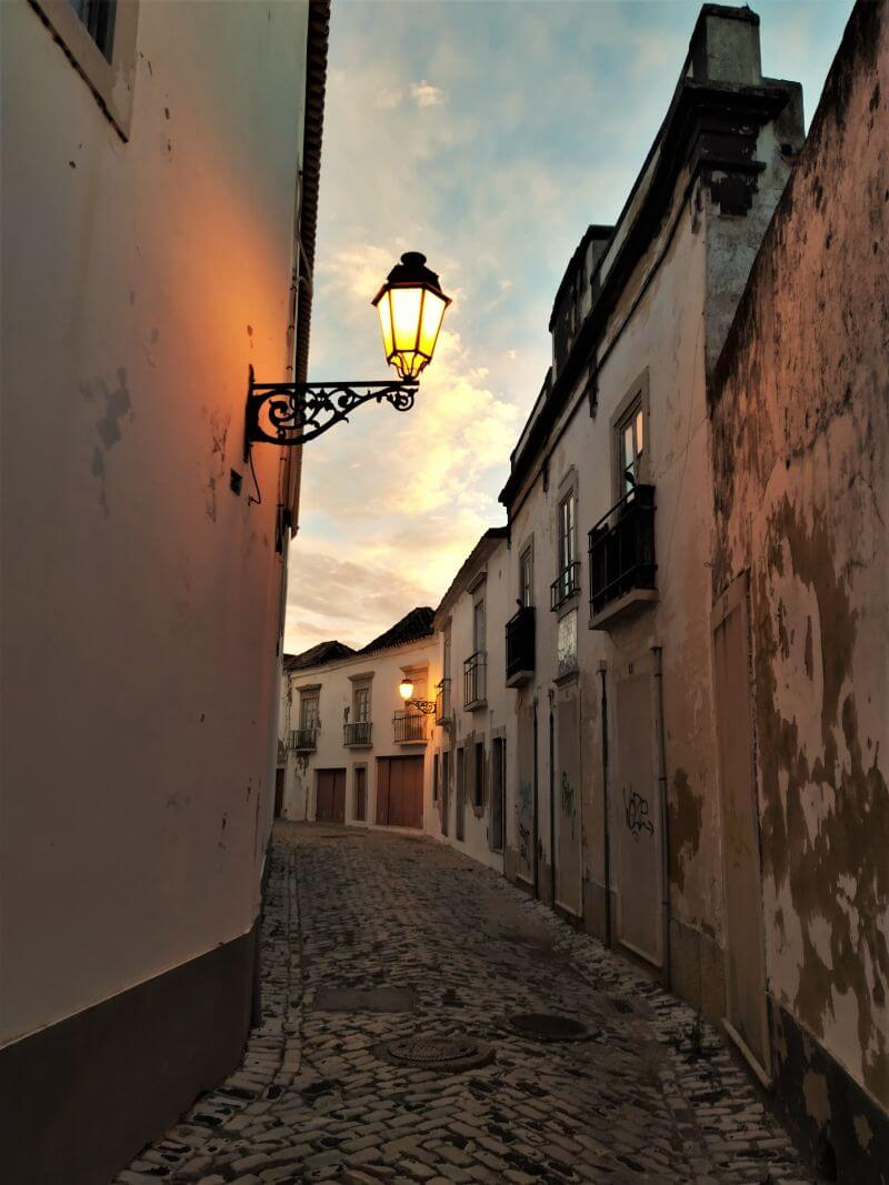 Faro old town view at night, attractions